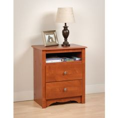 White Monterey Tall 2 Drawer Nightstand with Open Shelf: Home & Kitchen