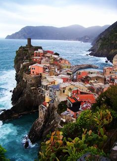 Edge of the Sea, Vernazza, Italy. This is one of the towns that make up the 5 towns of the Cinque Terre region. Places Around The World, Oh The Places You'll Go, Places To Travel, Travel Destinations, Places To Visit, Italy Vacation, Vacation Spots, Italy Travel, Vacation Travel