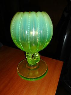 ANTIQUE NORTHWOOD VASELINE URANIUM YELLOW GLASS OPALESCENT BEADED BOWL VASE PANL