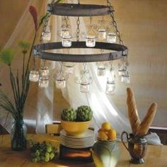 Baby Food Jar Candle Chandelier, wonder if I can use the metal bands from the wine barrels I just burned?