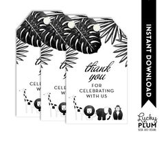 Perfect Favor Tags for the modern watercolor black and white animal elephant giraffe lion safari with a hint of tribal Aztec Boho party  Size: Favor Tags 1.75 x 3 (12/sheet) ** Digital file only.   MATCHING ITEMS •• Invite https://www.etsy.com/listing/229034515/safari-baby-shower-invitation-animal?ref=shop_home_active_6&ga_search_query=safari •• Welcome Sign https://www.etsy.com/listing/265902763/animal-welcome-sign-safari-welcome-sign?ref=shop_home_active_1 •• Cupcake Toppers…