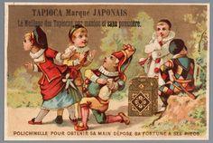 Reclameprent voor Tapioca Marque Japonais, voorstellende Polichinelle, Arlecchino, Pierrot en twee meisjes