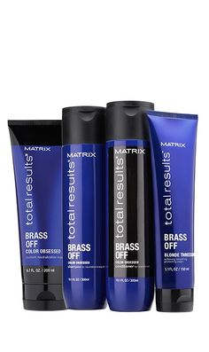 Discover Brass Off hair neutralizer products like a color depositing shampoo, color depositing conditioner, blue shampoo and blue conditioner for toning brassy hair. Color Depositing Shampoo, Matrix Total Results, Brassy Hair, Toning Shampoo, Matrix Hair, Hair Fixing, Beautiful Hair Color, Natural Blondes, Moisturize Hair