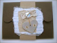 Vintage Theme Wedding Invitation Antique French Script handmade heart £2.95