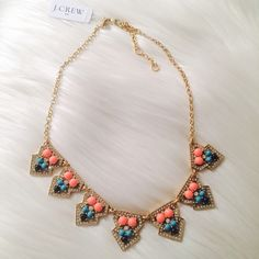 """Geometric clusters necklace in neon flamingo Beautiful unique piece from J. Crew offers a punch of color and fun to any outfit ✨  Zinc, glass stone, epoxy stone, steel chain. Light gold ox flash plating. Length: 18"""" with a 3"""" extender chain for adjustable length. Import.  Color: neon flamingo J. Crew Jewelry Necklaces"""