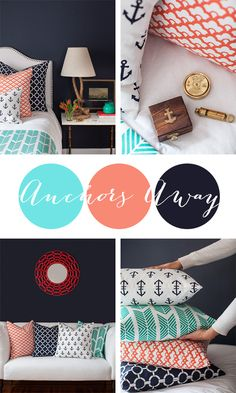 Anchors Away textile design , home design .my new living room design! Nautical Bedroom, Nautical Home, Beautiful Interior Design, Home Interior Design, Home Textile, Textile Design, Condo Decorating, Traditional Bedroom, Beach House Decor
