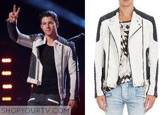 The Voice: Season 8 Nick Jonas' Black and White Biker Jacket
