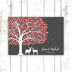 Guest Book Tree with Deer Coral Wedding Guest by MooseberryPaperCo