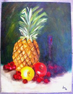 Vintage Original Signed Oil Painting Art FRUIT STILL LIFE Pineapple Vase 14x18