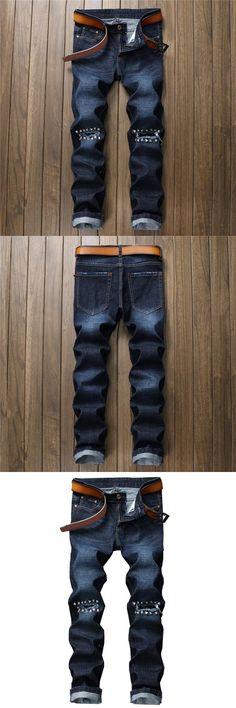 GMANCL Biker Men Ripped Jeans Pants With Rivets Punk Rock Hole  Straight Distressed Denim Slim Fit Male Blue Hip Hop Trousers