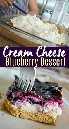 I don't know if I love the cream cheese lemon filling or graham cracker best on this blueberry cheesecake dessert, but it tastes amazing and is easy to make! Your family will enjoy this easy, delicious blueberry cheesecake dessert! Dessert Dips, Dessert Oreo, Coconut Dessert, Smores Dessert, Dessert Recipes, Appetizer Dessert, Yum Yum Dessert Recipe, Dessert Food, Dessert Simple