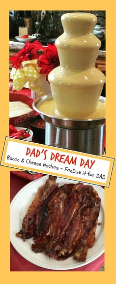 """Dad loves Nachos! So let's """"fondue it"""" for him.  All you need to make Father's Day super fun:  Select Fondue Fountain - $69.99 (top quality, super quiet and family size) Our Nacho recipe - delish and out of a can: https://www.sephra.com/journal/cheese-fondue-fountain-post/ Tortilla Chips, Bacon, Taco meat, Jalapenos!  Serve all of Dads favorites - EVERYTHING goes with cheese!  Fountain flows chocolate, peanut butter, caramel, ranch dressing maple syrup, BBQ sauce and more!!! HURRY - ORDER…"""