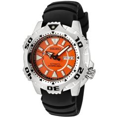Seiko Men's SKZ281 5 Sports Automatic Orange Dial Black Rubber Diver Watch Seiko. $223.05. Day function in english and spanish; date function. Water-resistant to 660 feet (200 M). Precise 23-jewel Japanese-automatic movement; functions without a battery; powers automatically with the movement of your arm. Orange textured dial with black luminous hands and luminous hour markers; unidirectional stainless steel bezel; screw-down crown. Durable mineral hardlex crystal; bru...