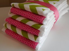 Baby Burp Cloth Chevron Lime Green and Pink 6 by luvstobecreative, $32.95