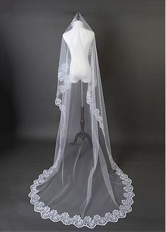 Buy discount In Stock Beautiful White Tulle Cathedral Wedding Veil With Lace Applique Edge #blackfriday at Dressilyme.com