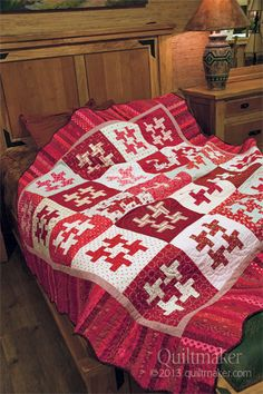 """Scarlet Spin is one of three red and white quilts featured in our brand new """"Red and White Quilts"""" ebook. Start sewing instantly!"""
