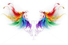 Fluffy Rainbow Wings Art Print by - X-Small Feather Art, Feather Tattoos, Rainbow Tattoos, Wings Drawing, Wing Tattoo Designs, Design Bundles, Graphic Illustration, Bunt, Phoenix