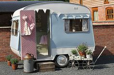 Vintage Classic Caravan - 1960's Bluebird Eurocamper - small & shabby chic. This is way too cute. I'm not even sure if I could stand up in this but I so want it! *** yes, I would go camping in this! :)