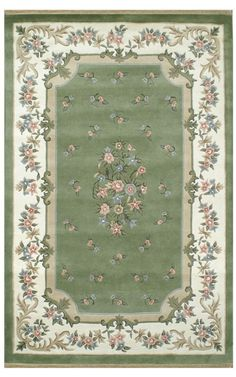 The American Home Rug Company Floral Garden Floral Aubusson Green Rug | Country & Floral Rugs