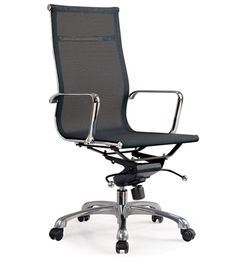Aluminum Mesh Office Chair - high back : The Aluminum Office Chair combines elegant styling with unmatched practicality and comfort. The padded seat is upholstered in PU leather to ensure a long life span. The sturdy base is constructed from cast aluminium for extra strength and longevity. This unique office chair comes complete with one touch gas lift height adjustment as well as tilt and rocking actions for easy adjustment.