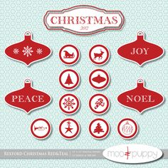 ON SALE - Christmas Digital Scrapbook Paper Pack and Clip Art- Rexford Red  -- INSTANT Download.