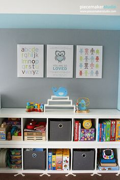 Cute bookshelves and wall decor
