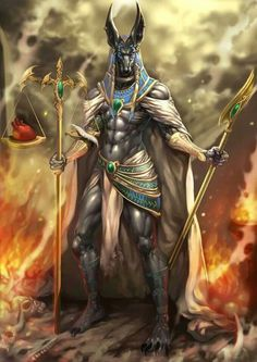 Anubis - a jackal-headed god associated with mummification and the afterlife in ancient Egyptian religion. Osiris Tattoo, Anubis Tattoo, Anubis Symbol, Fantasy Creatures, Mythical Creatures, Digital Art Illustration, Dog Forum, Religion, Egyptian Mythology