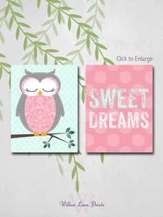 Owl Nursery Decor, Baby Girls Wall Art, Sweet Dreams Nursery Prints, Polkadots, Choose Custom Colors on Etsy, $30.00