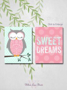 owl nursery room decor wall art prints baby by WillowLanePrints, $20.00