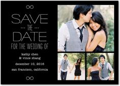 Inscribed Infinity - Signature White Photo Save the Date Cards - simplyput by Ashley Woodman - Gunmetal - Gray : Front