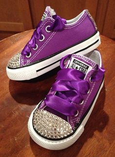 Purple bling Converse with purple laces by Munchkenzz on Etsy, $65.00
