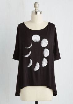 All in a Phase Work Top. Month by month, the moon finds itself anew - and, in this black top, so can you! #black #modcloth