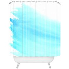 Deny Designs Wonder Forest Sky To Sea Shower Curtain Blue White By ($89) ❤ liked on Polyvore featuring home, bed & bath, bath, shower curtains, ocean shower curtains, deny designs shower curtains, blue and white shower curtains and deny designs