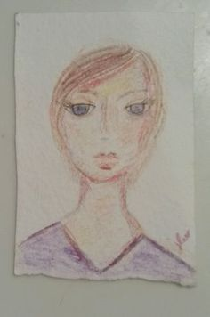 ACEO portrait woman colored pencil drawing abstract atc art card in Art | eBay