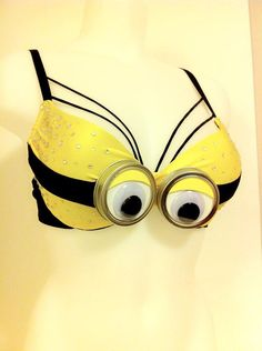 Disney Minion EDM Rave Festival Bra Costume by MollipopGang Festival Costumes, Festival Outfits, Breast Cancer Bras, Decorated Bras, Bling Bra, Fantasy Bra, Halloween Rave, Mermaid Bra, Diy Bra