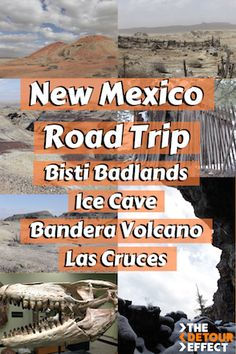 An alternative New Mexico road trip itinerary, including Bisti Badlands/De-Na-Zin Wilderness, Ice Cave and Bandera Volcano, and more. New Mexico Road Trip, Travel New Mexico, Arizona Travel, Alaska Travel, Travel Usa, Alaska Cruise, Samana, Monteverde, Road Trip Map