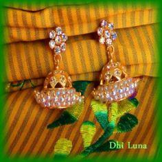 White jumkha/jimikki earrings traditional south Indian jewellery