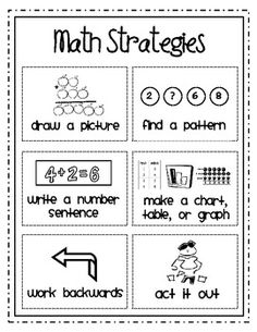 Problem Solving Math Strategies that may seem simple, but can be used at a variety of levels.
