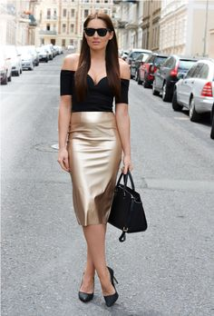 off shoulder top 2017 with gold skirt 2017