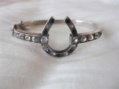 ANTIQUE VICTORIAN 1890 sterling silver & 9ct gold cased horseshoe paste bangle