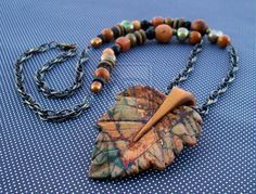 Carved Jasper Leaf Pendant Necklace by *MandarinMoon on deviantART