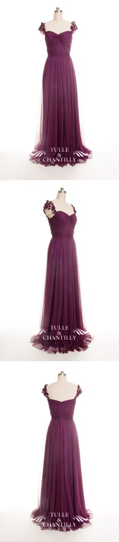 eggplant tulle bridesmaid dresses with floral straps