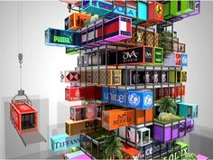 – hotel made of stacked shipping containers. – Recycled shipping containers are stacked in a 'Jenga-like' configuration within a steel frame structure at the Hive-Inn Hotel, a new concept designed by Hong-Kong-based OVA Studio. Container Architecture, Facade Architecture, Jenga, Hotel Concept, Building Concept, Shipping Container Homes, Shipping Containers, New Condo, Sustainable Design