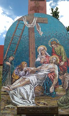 13 Stations of the Cross along the stairs @ Mother Cabrini Shrine Colorado. . Each station is made of stone mosaics made in Italy and depicts the suffering of our divine Lord as He gave His life for our salvation