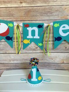Fishing theme 1st birthday hat first birthday by DivazByDesign