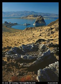 Tufa rock and pyramid. Pyramid Lake, Nevada, USA,Part of gallery of color pictures of USA by professional photographer QT Luong, available as prints or for licensing. Reno Tahoe, Nevada Usa, Lake Tahoe, Park City, Beautiful World, The Great Outdoors, Picture Photo, Battle, Rock