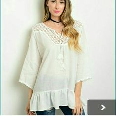 Beautiful in boho blouse. This is a beautiful Bohemic blouse. It's light weight and comfortable. Only one left in size medium. Tops Blouses