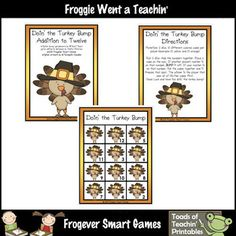 Here's a turkey themed Bump board for practicing addition facts.