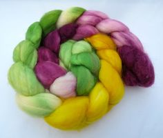 Hand Dyed SW Merino Wool Top 4.3oz  Violette Limone by Spindipity