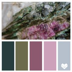 Crystal Color Palette, Nature Color Inspiration, Green Pink Gray, Six Geology Inspired Color Schemes Paint Color Palettes, Fall Color Palette, Color Palate, Paint Colors, Colour Schemes, Color Combos, Color Patterns, Pantone, Color Lila